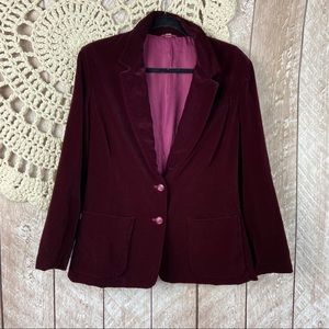 Vintage 70s The Fashion Place Red Velvet Blazer